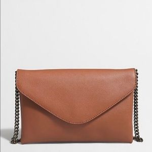 J Crew Leather Envelope Clutch w/ Chain Strap